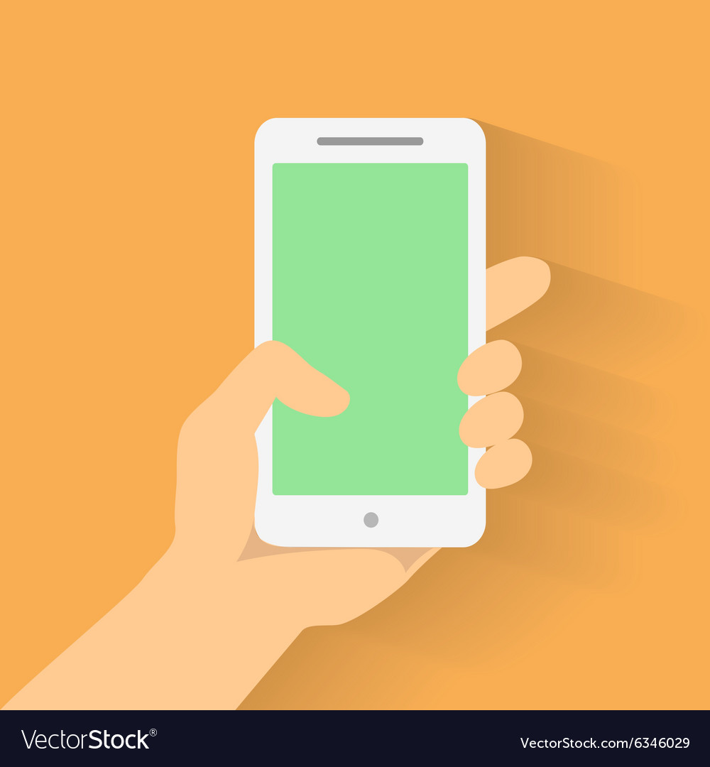 Hand holding smart phone on orange background vector