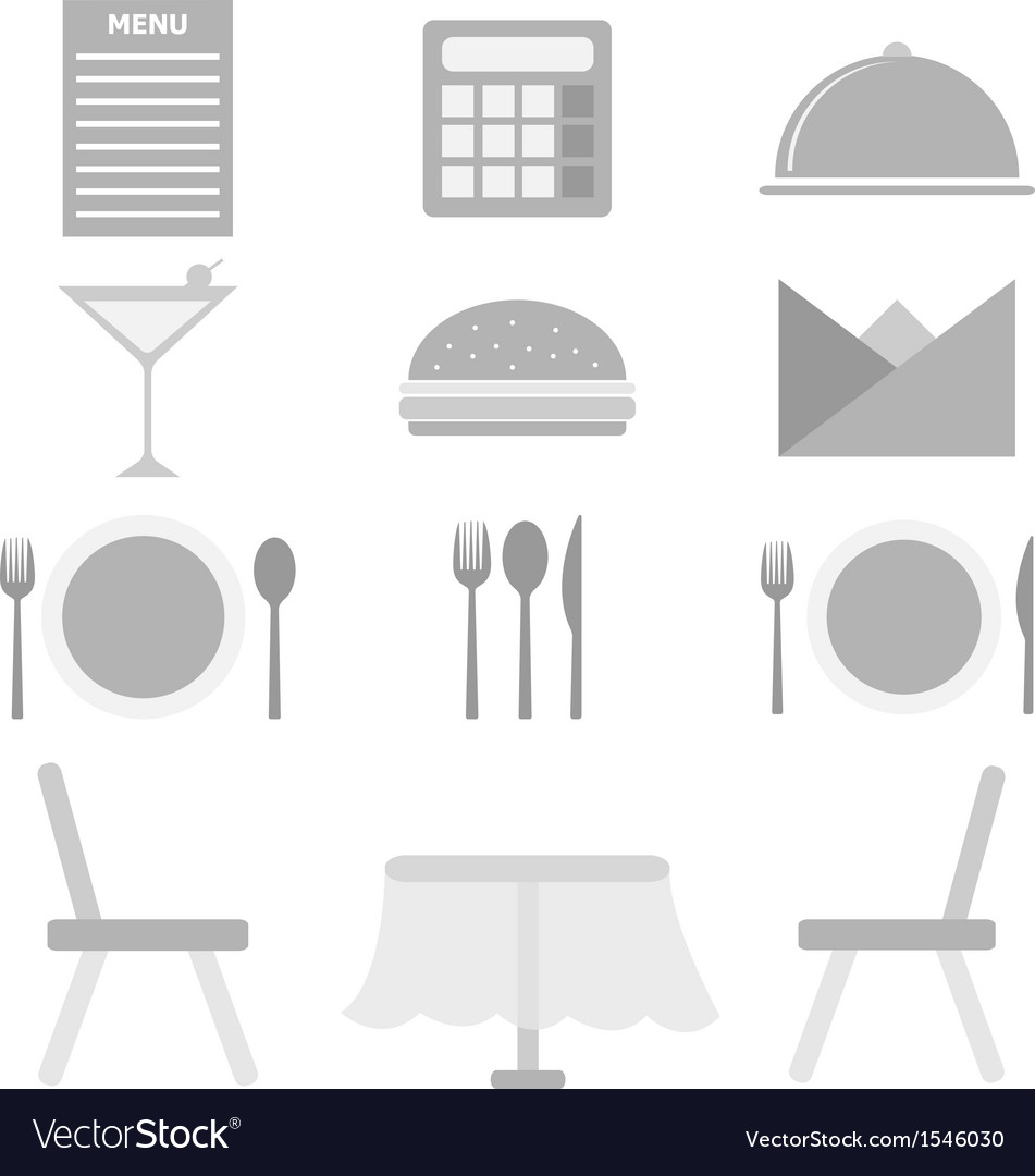 Restaurant icons on white background vector