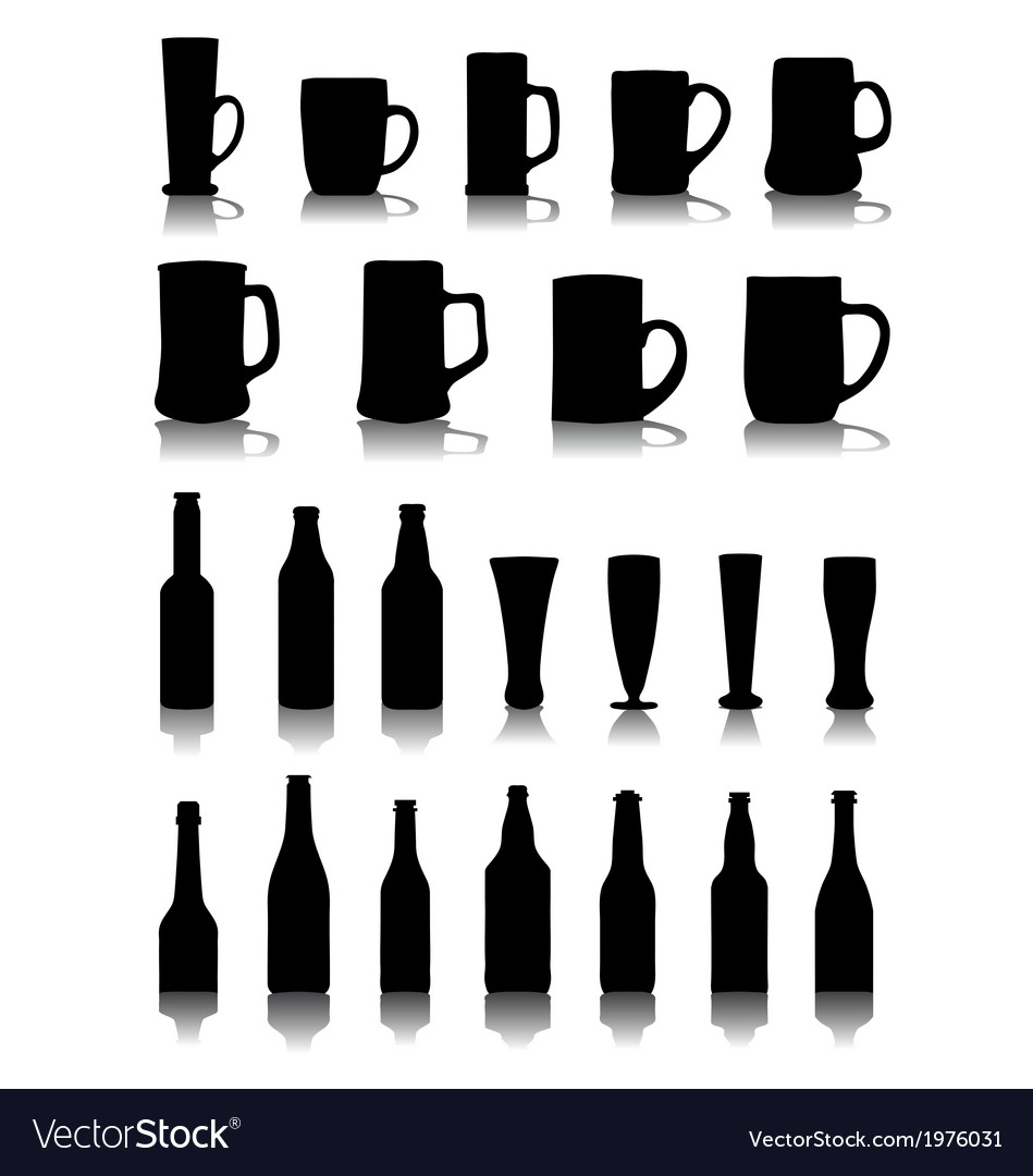 Mugs and glasses of beer vector