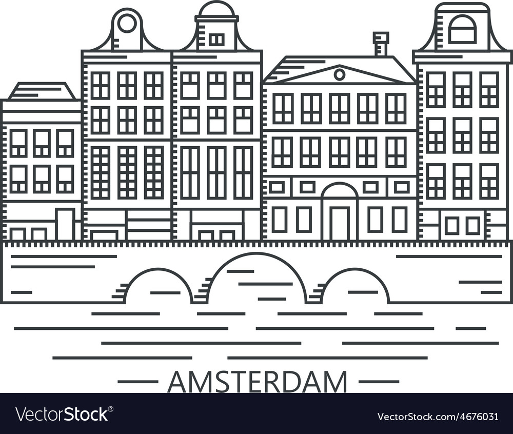 Old amsterdam holland houses on bridge set vector