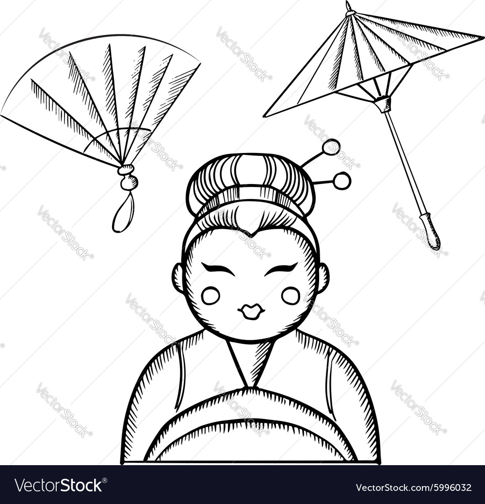 Geisha in kimono with fan and paper umbrella vector