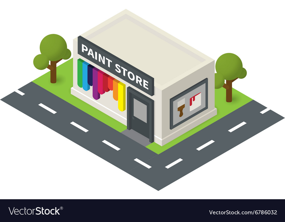 Isometric hardware shop paint store vector