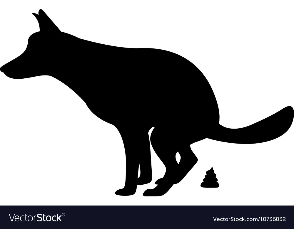 Silhouette of the dog goes to the toilet vector