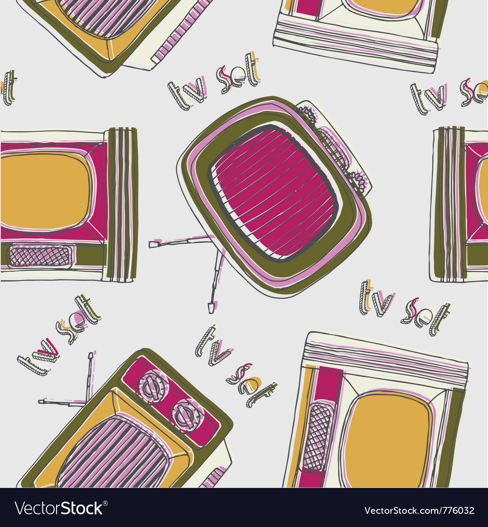 Vintage tv drawing wallpaper vector