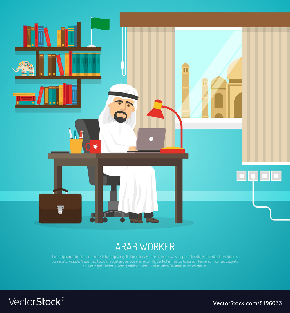 Arab worker poster vector