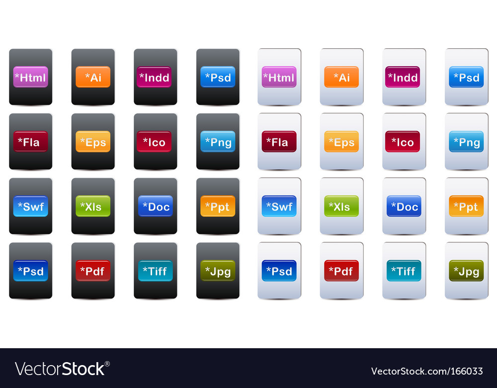Document and file type icons vector