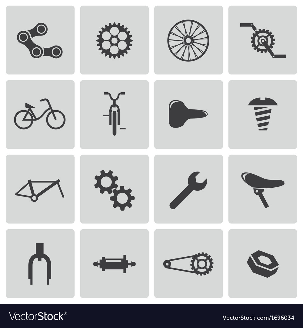 Black bicycle part icons set vector