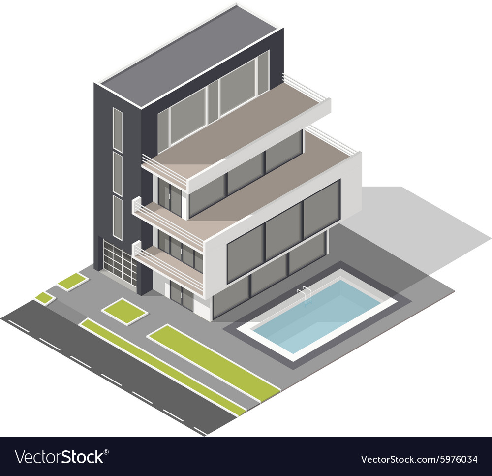 Modern residential building isometric icon set vector