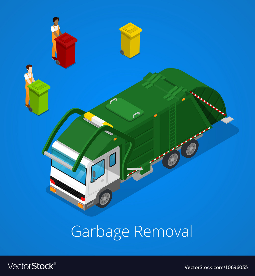 Garbage removal with isometric people and truck vector