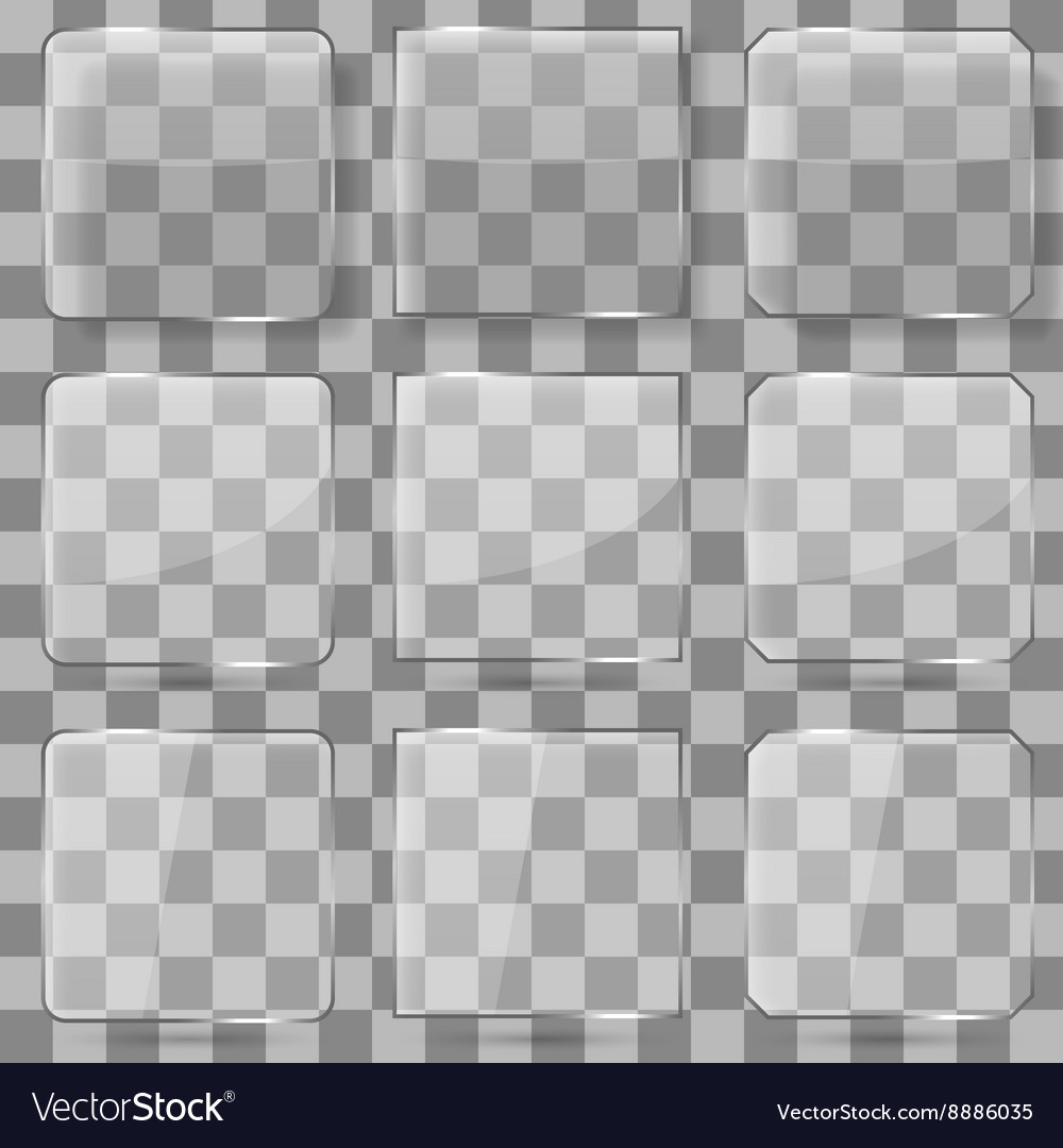 Glass square buttons for mobile vector