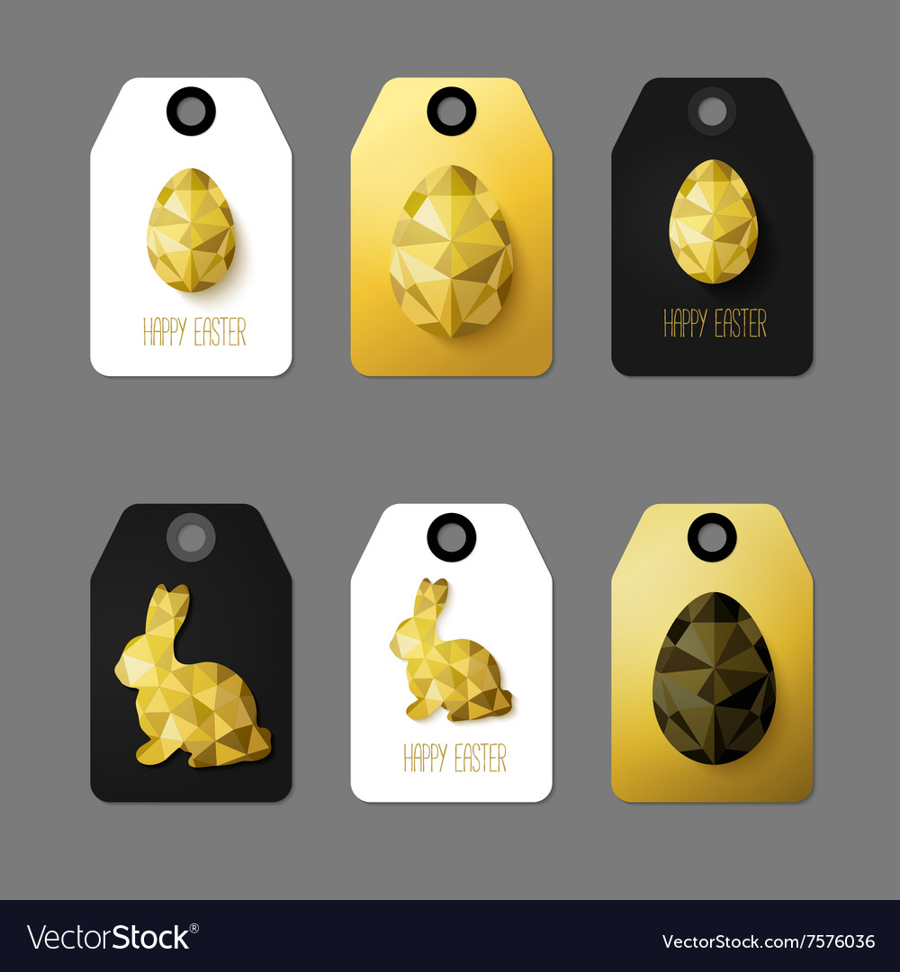 Flat design easter taggs vector