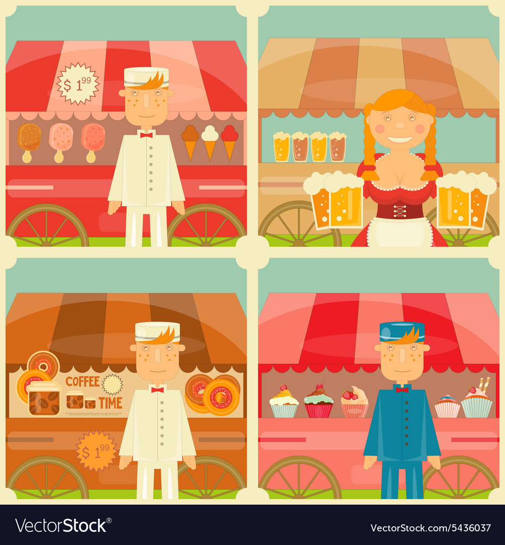 Food cart with seller vector