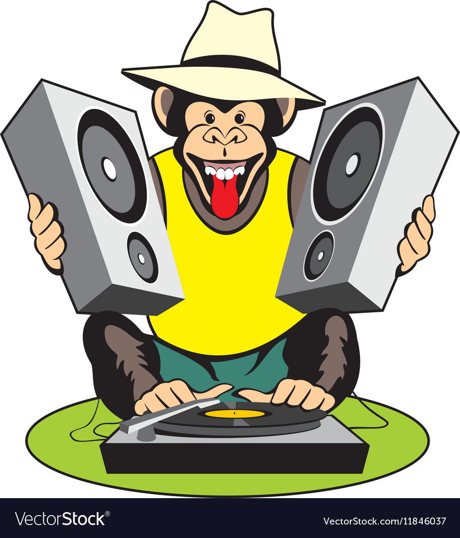 Monkey discjockey vector
