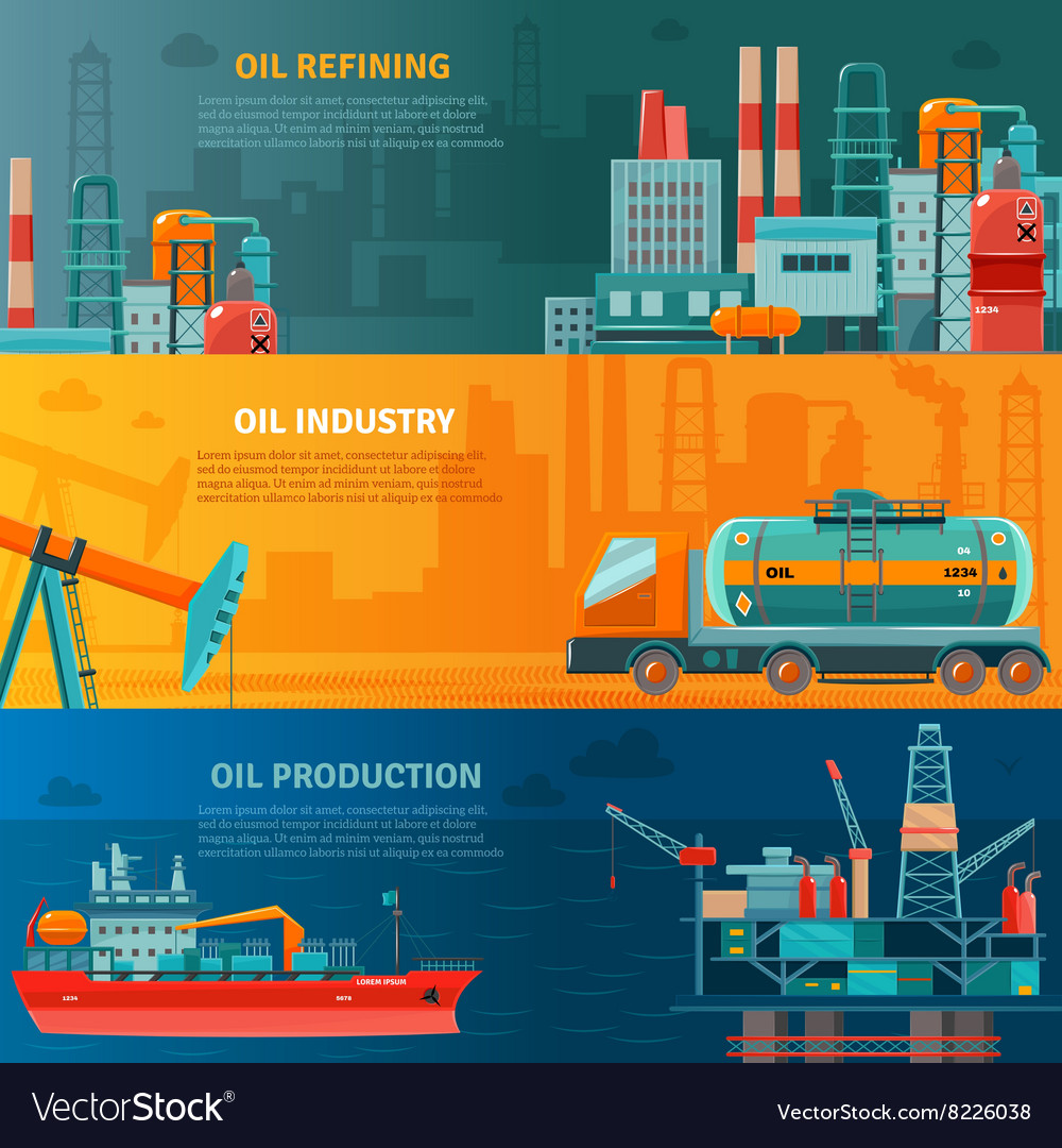 Oil industry horizontal banners set vector
