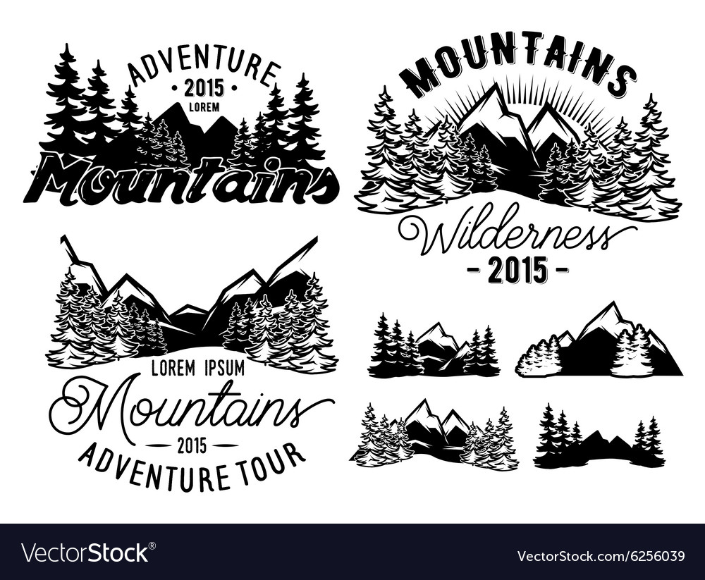 Monochrome patterns landscape with mountains and vector