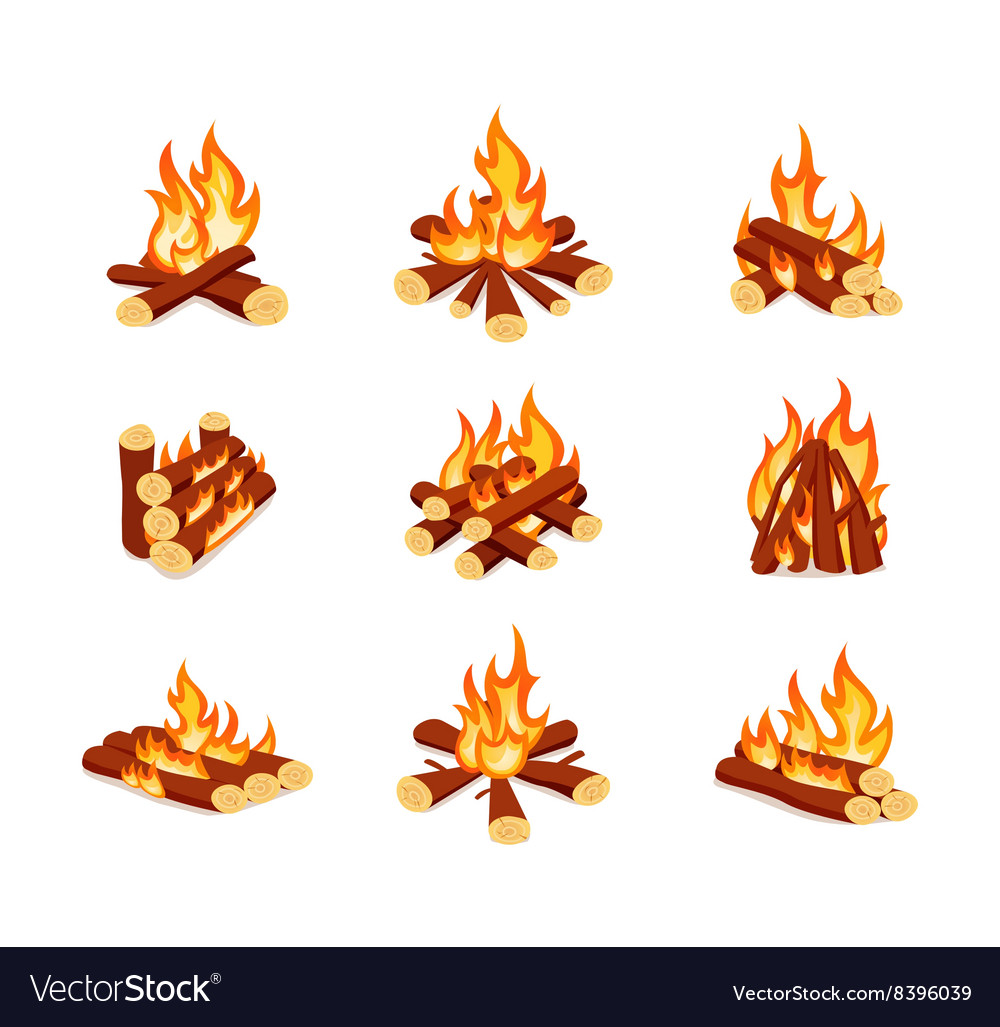 Set of campfires isolated on white background vector