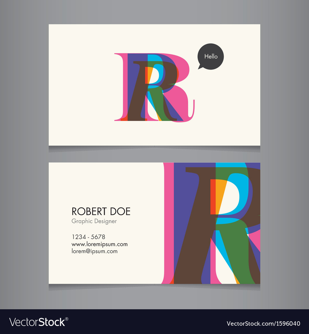Business card template letter r vector