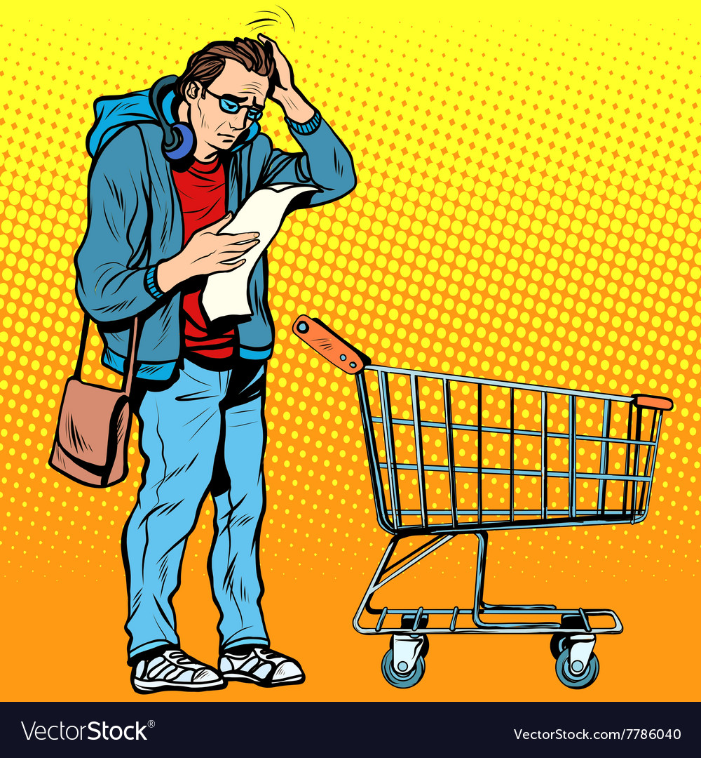 Buyer with a grocery cart vector