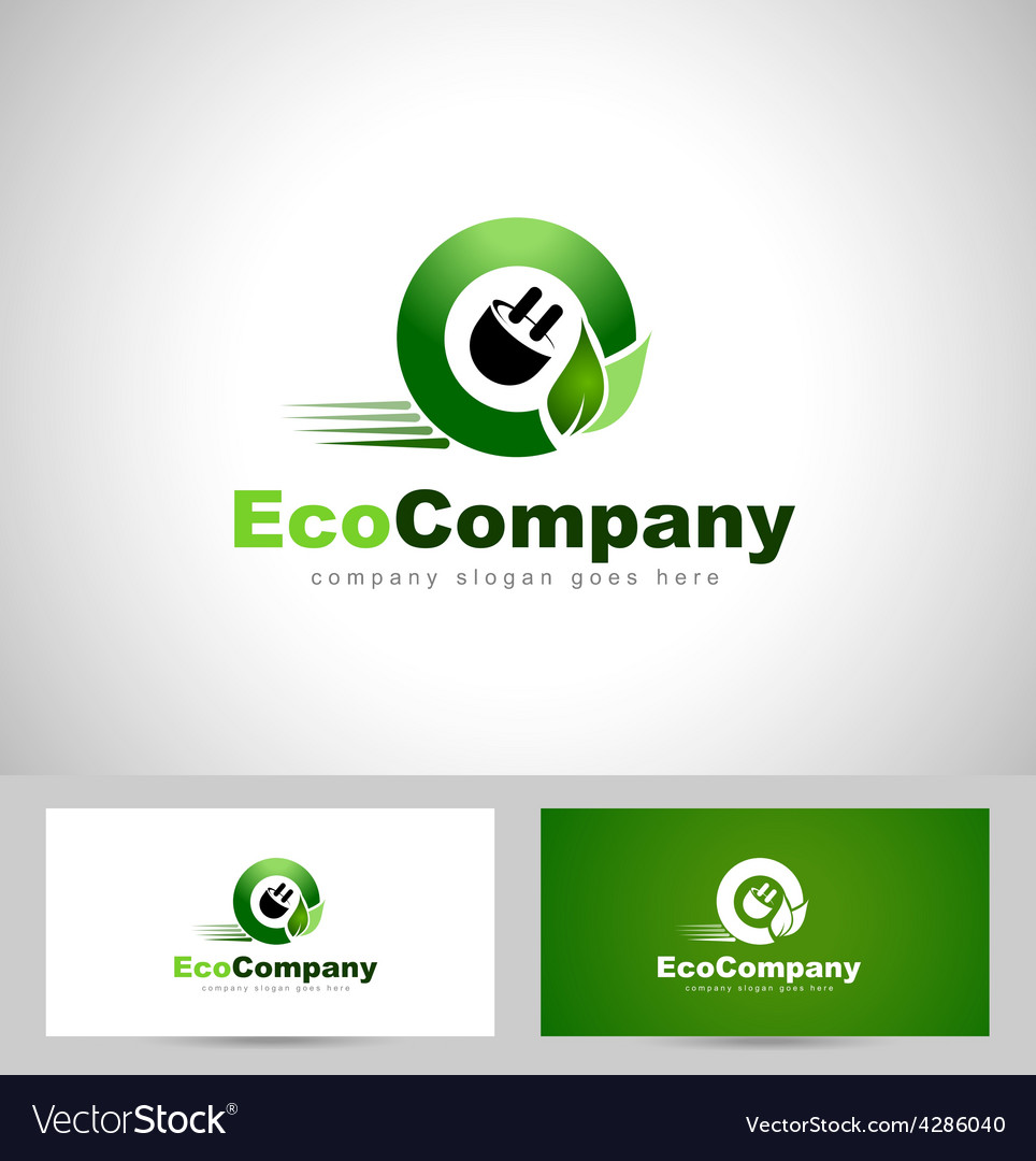 Eco electricity logo vector