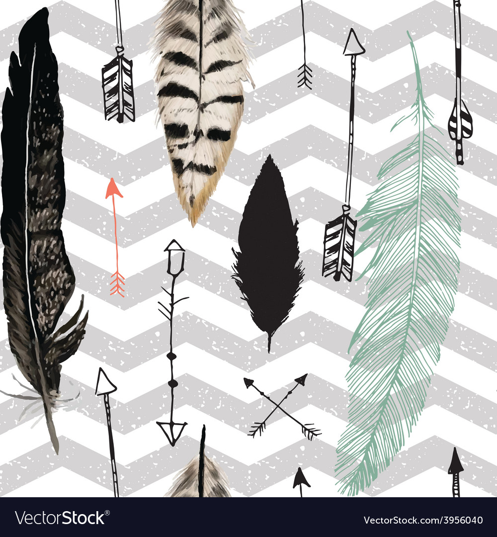 Seamless pattern with feather and arrows chevron vector