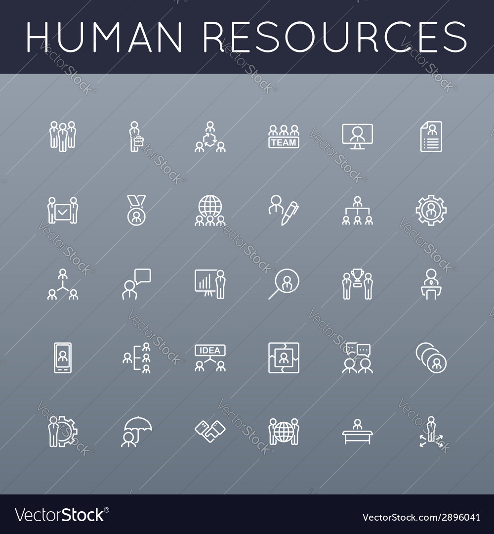 Hr line icons vector