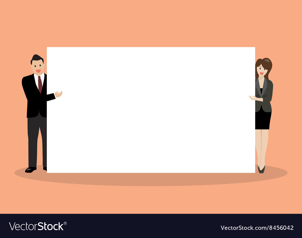 Businessman and woman pointing to the billboard vector