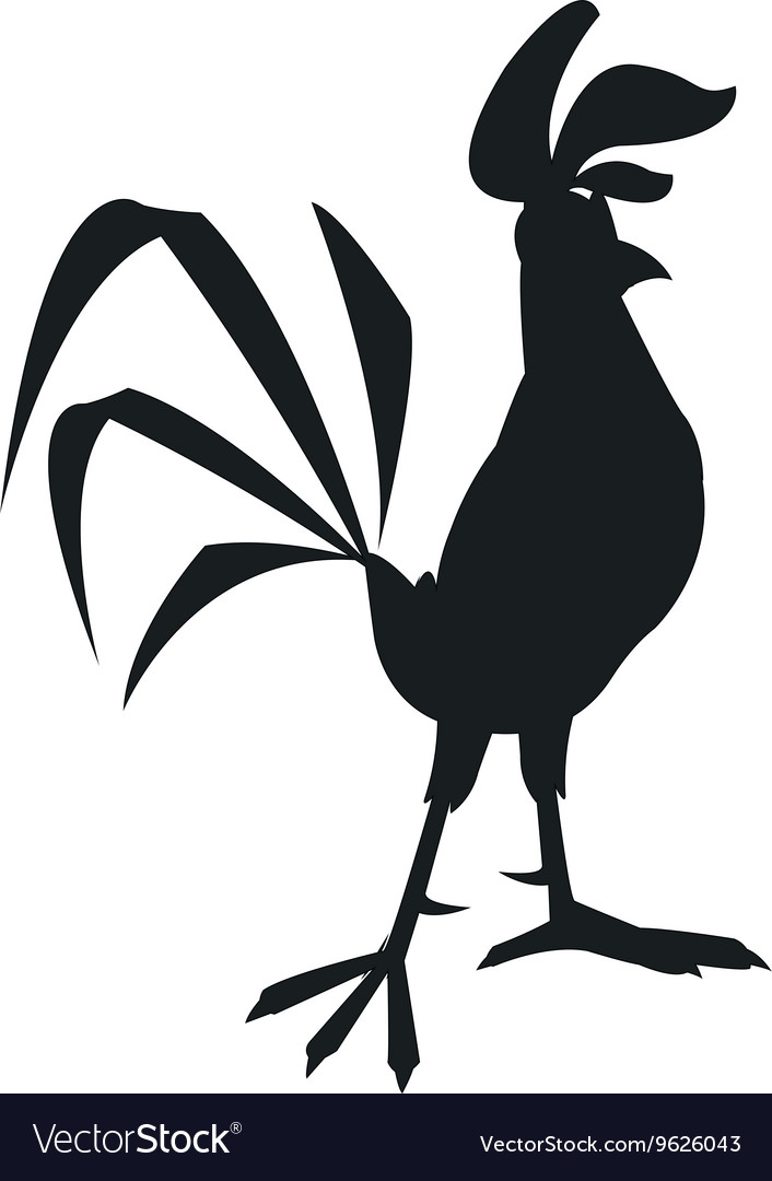 Rooster cartoon silhouette icon vector