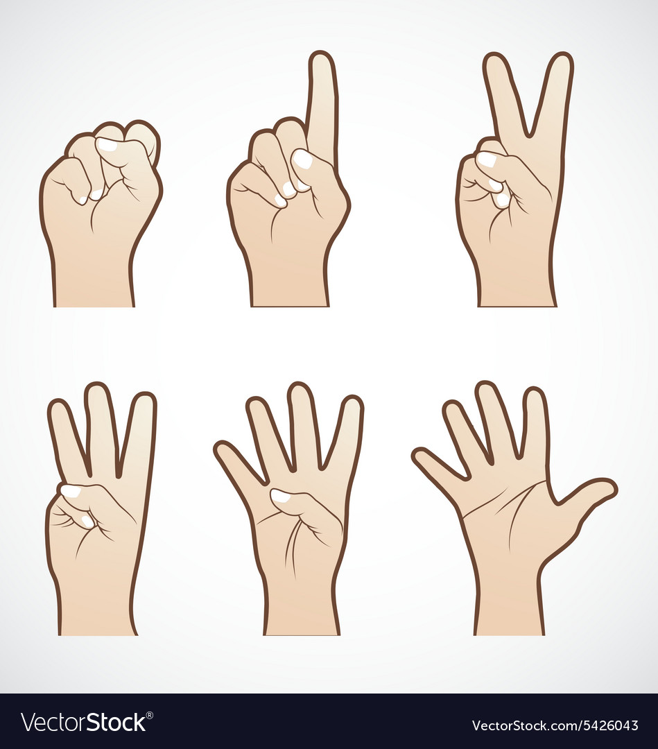 Set of counting hand sign vector