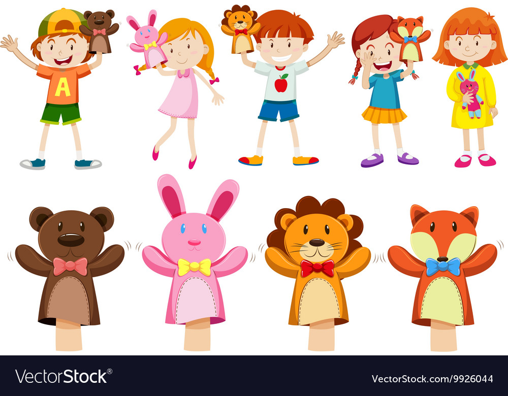 Boys and girls with hand puppets vector