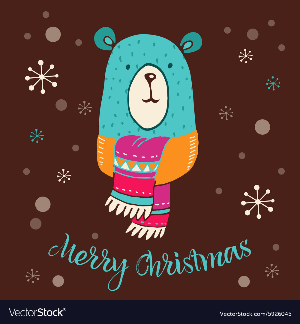 Merry christmas  cute bear with lettering vector