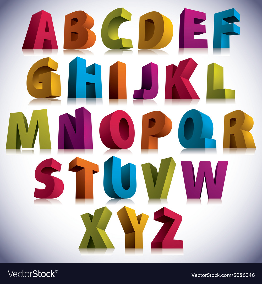 3d font big colorful letters standing vector