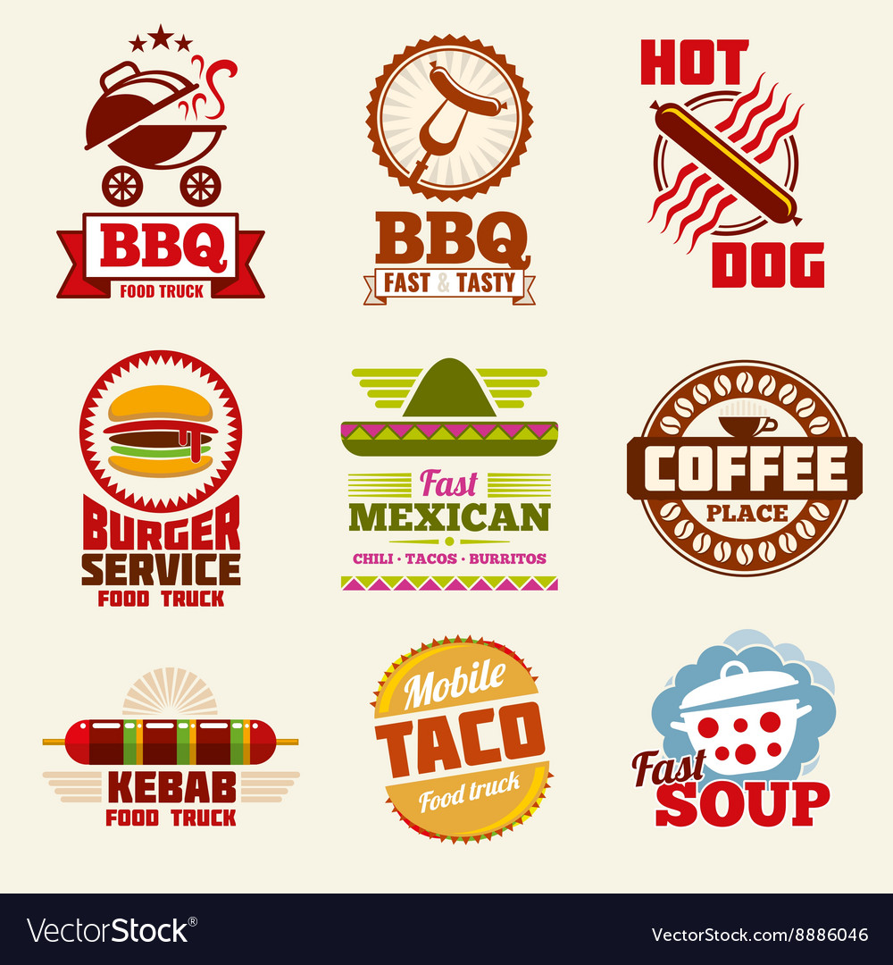 Fast food logo emblems labels and badges vector