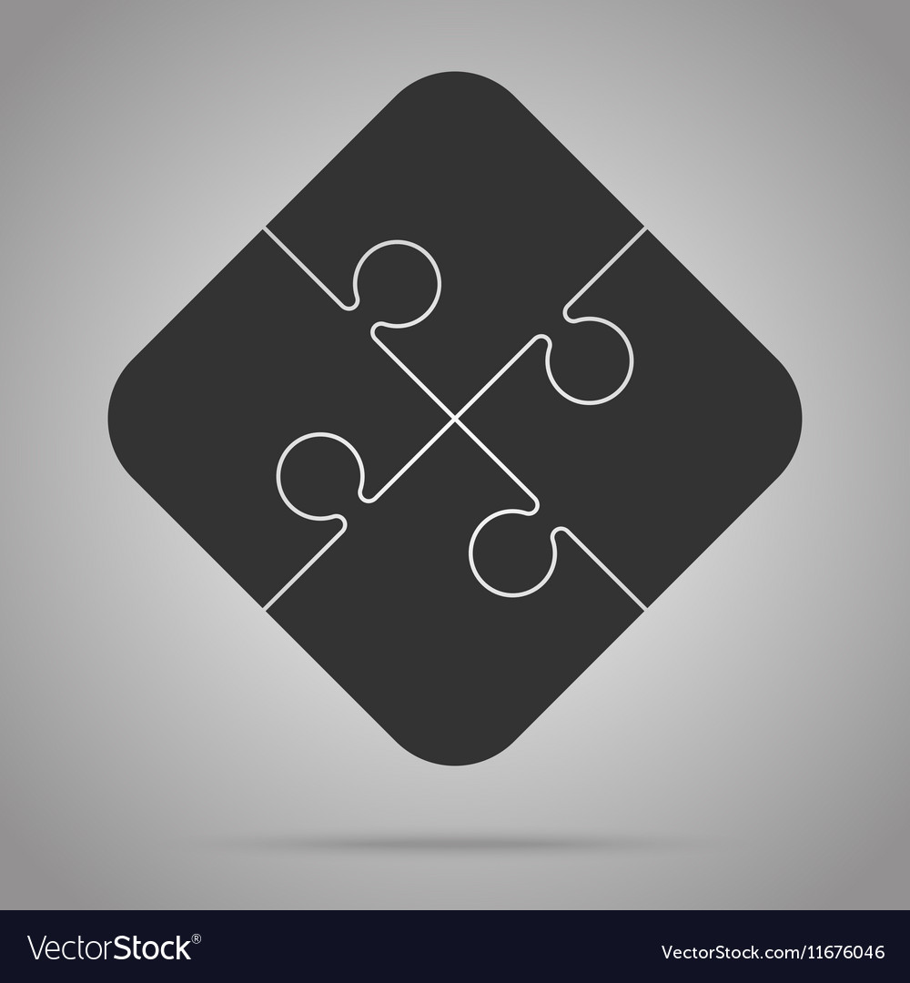 Four black piece puzzle round infographic 4 step vector