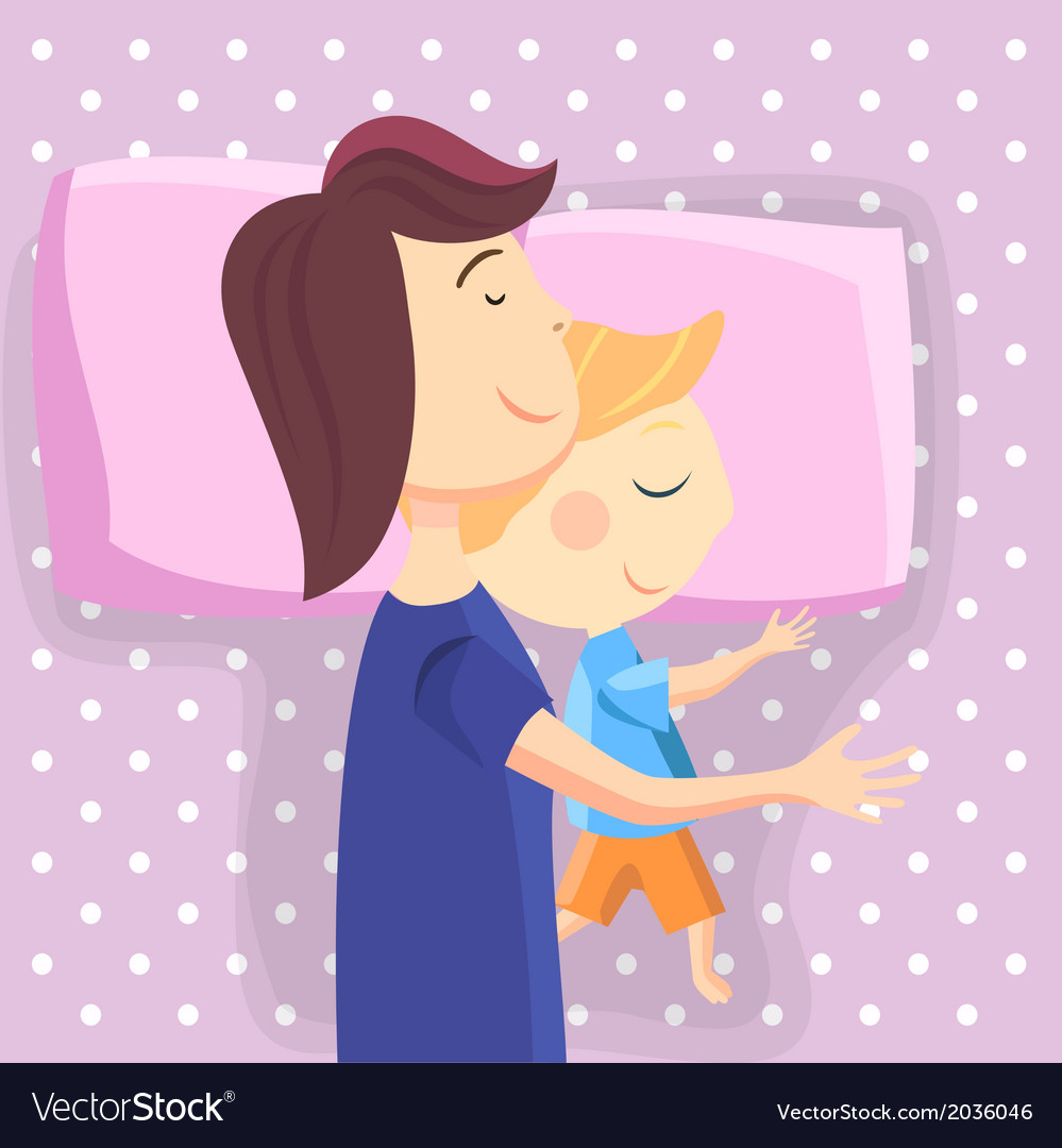 Happy mom and son sleep together vector