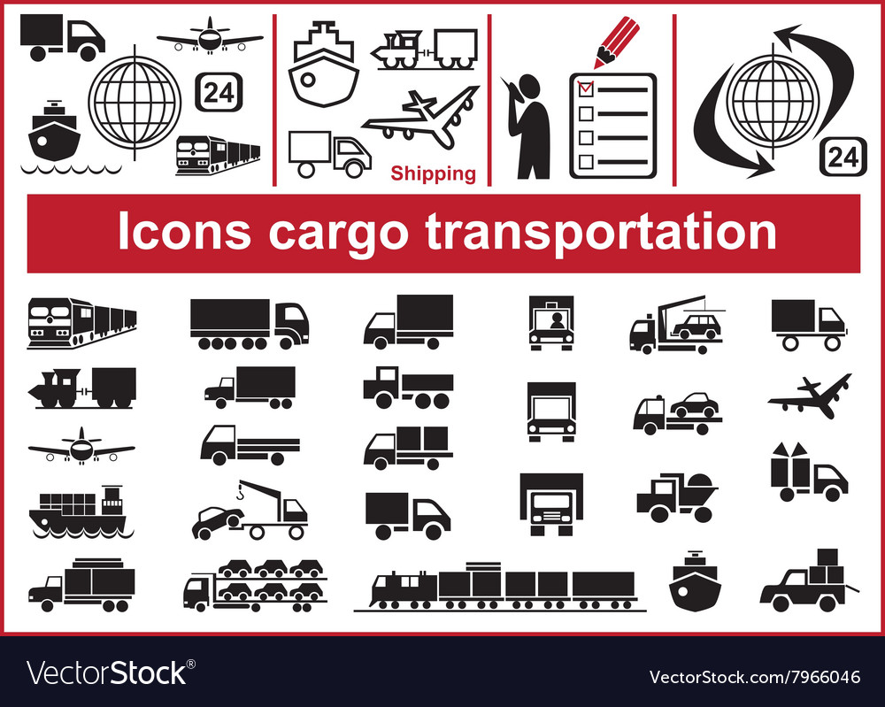 Icons cargo transportation vector
