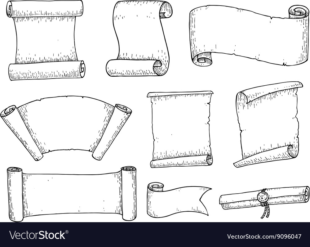 Set of hand drawn scrolled ribbons old vector