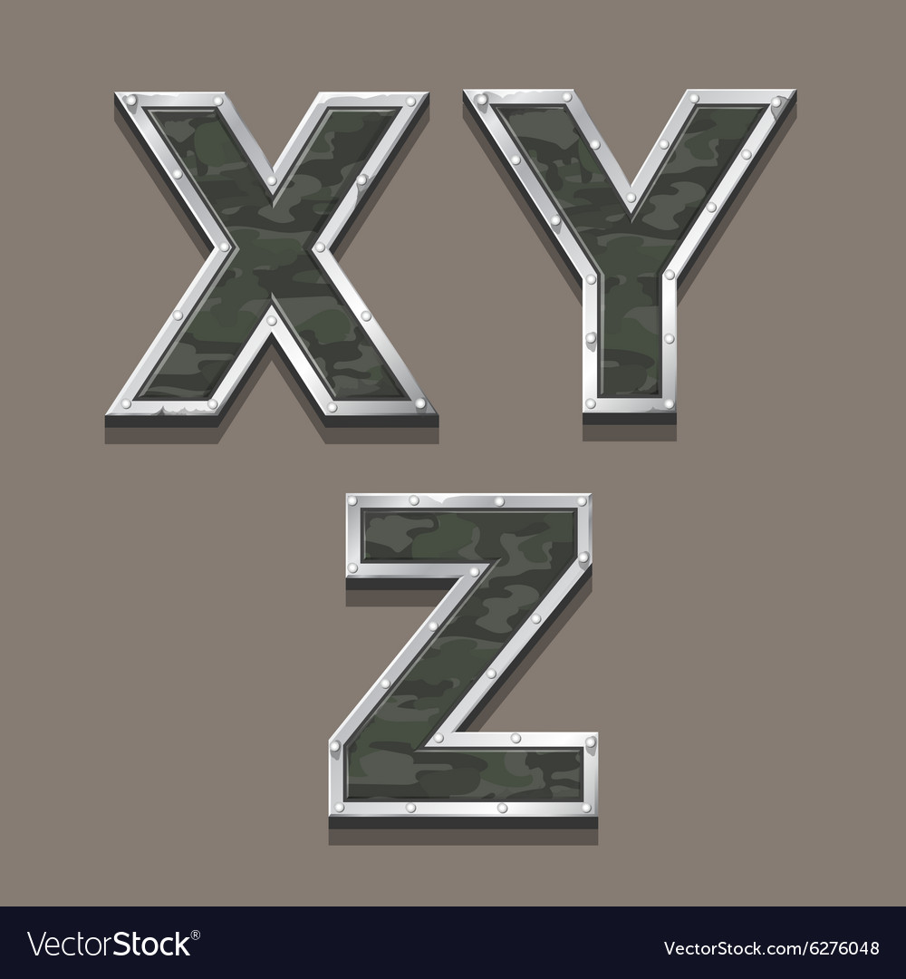 Military letters alphabet steel metallic khaki vector