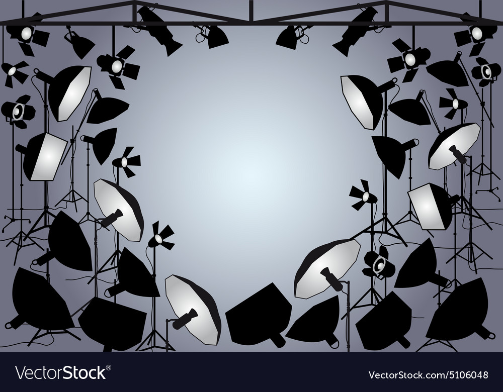 Photo studio with lights vector