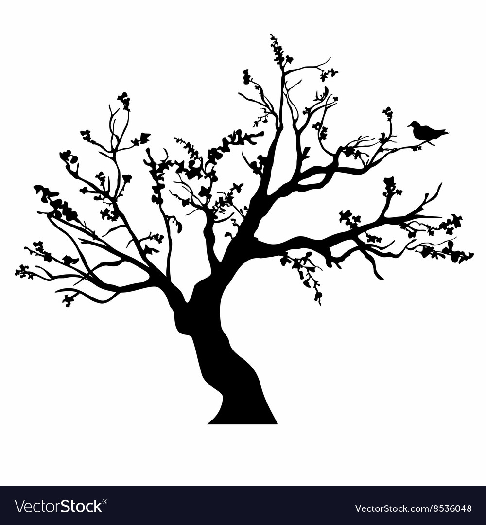 Tree black silhouette isolated on white background vector