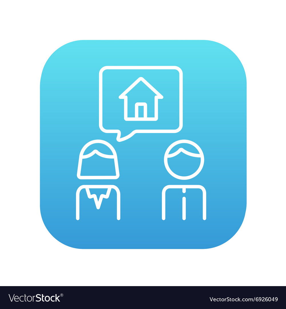 Couple dreaming about house line icon vector