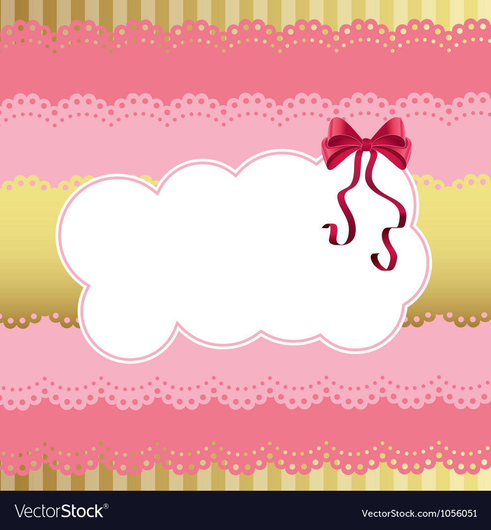 Birthday card with lace and bow vector