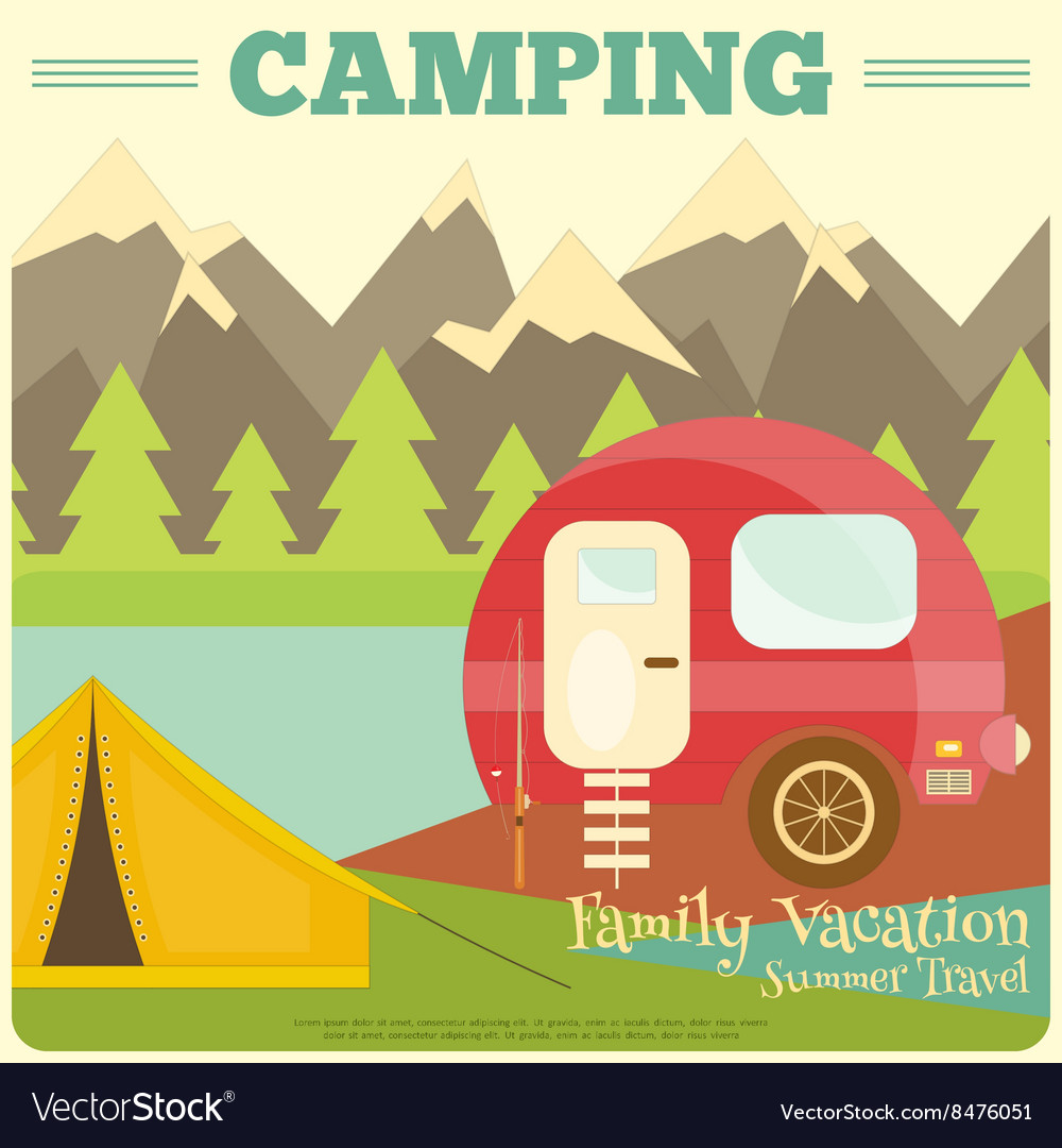 Mountain camping with family trailer caravan vector