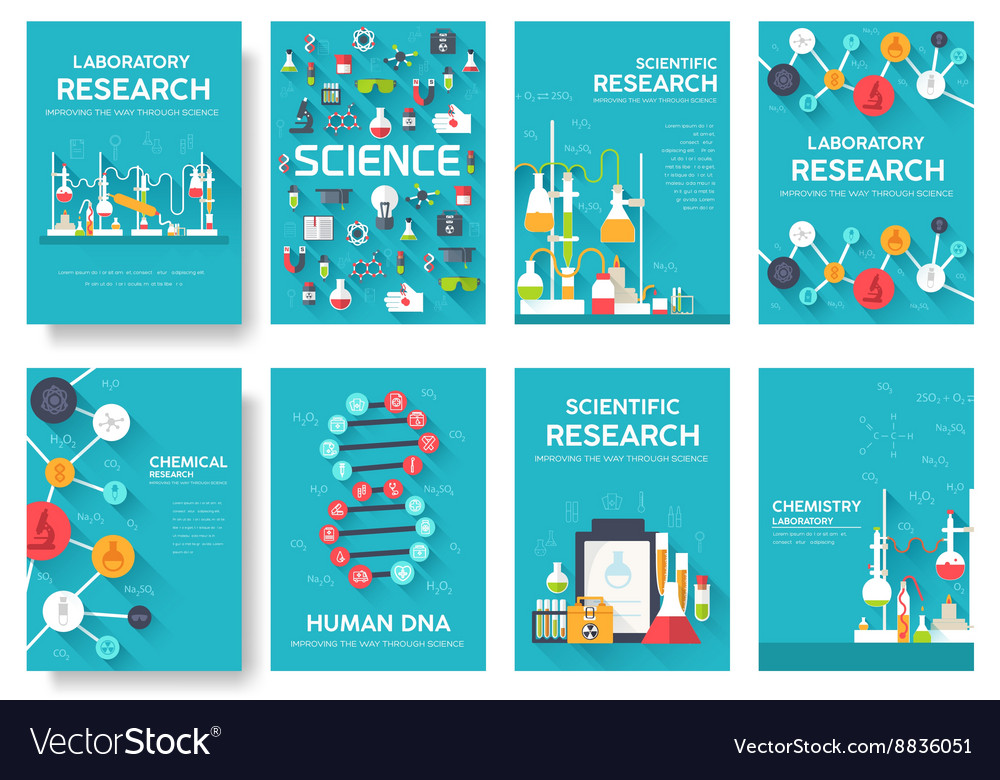 Science information cards set laboratory template vector