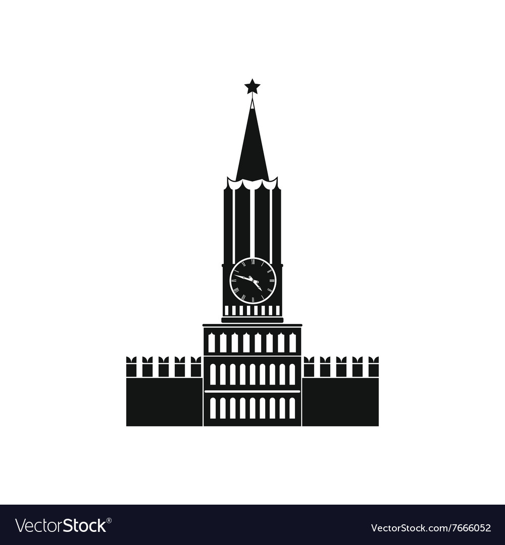 Spasskaya tower of moscow kremlin icon vector