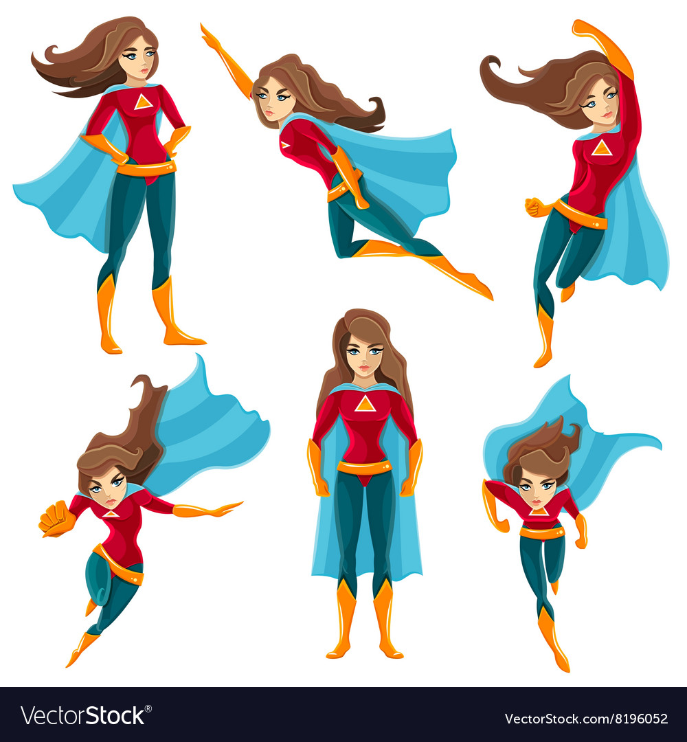 Superwoman actions icon set vector