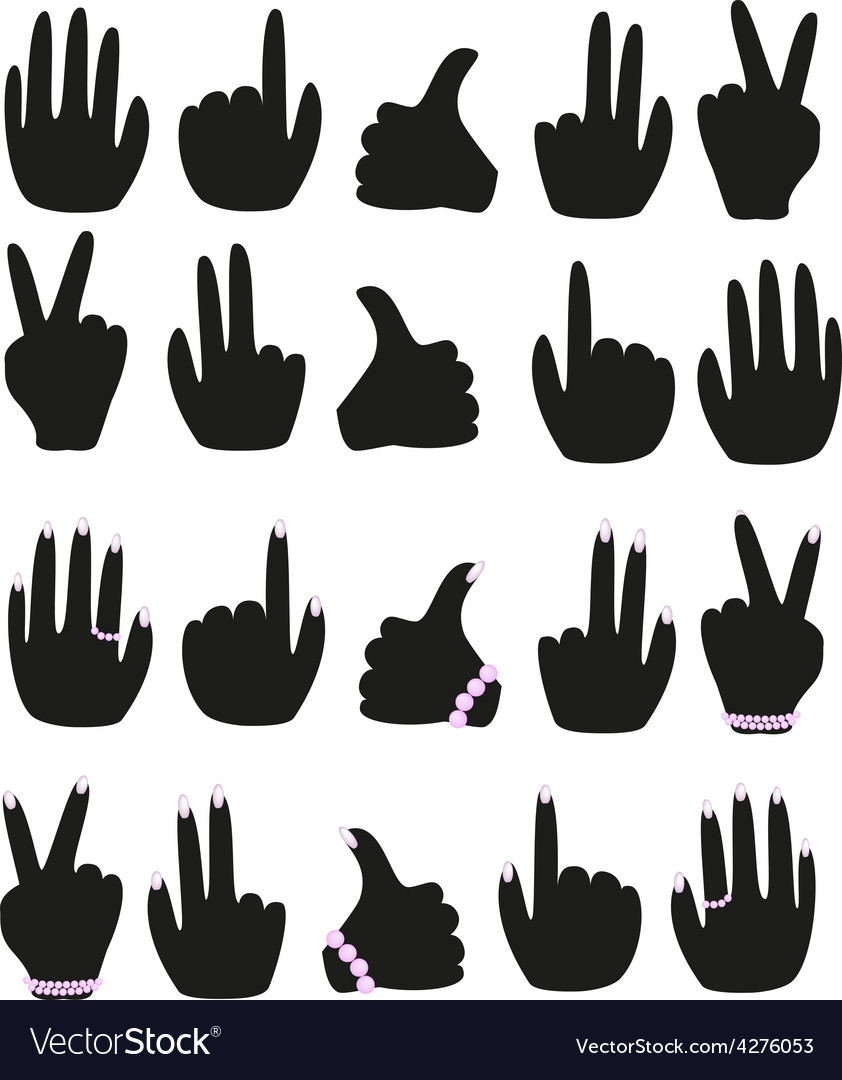 A set of male and female hands with different vector