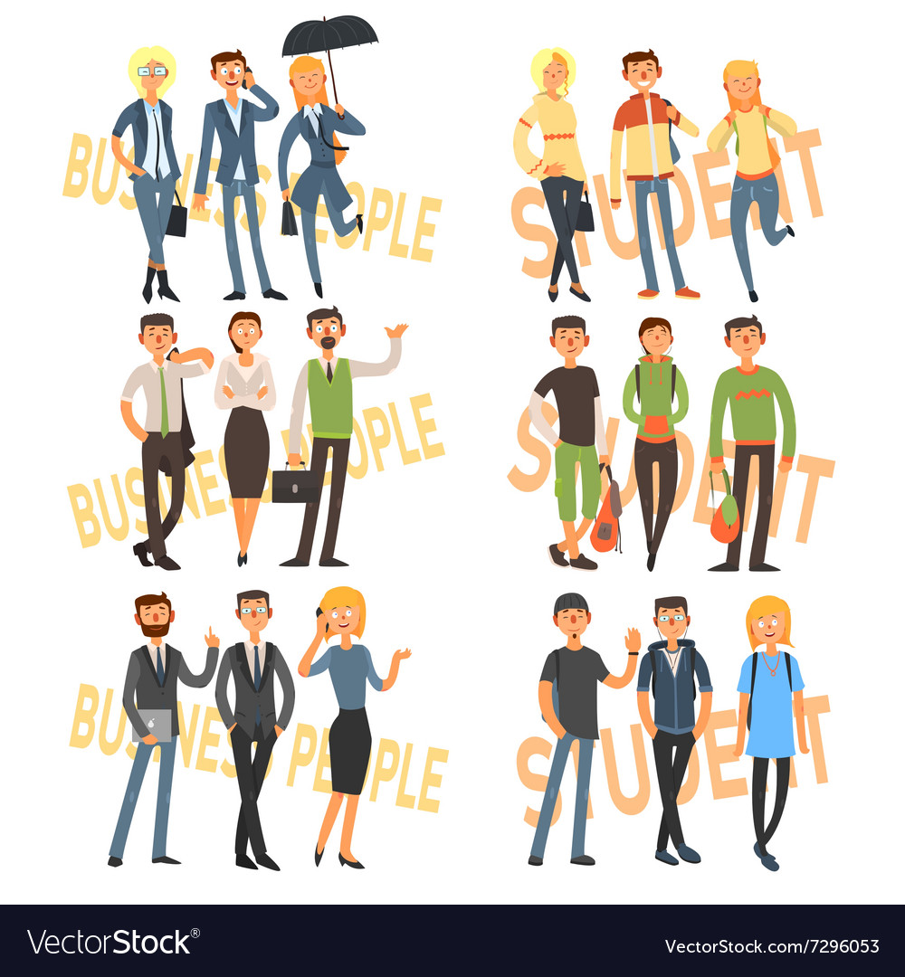 Group cartoon business people and students vector