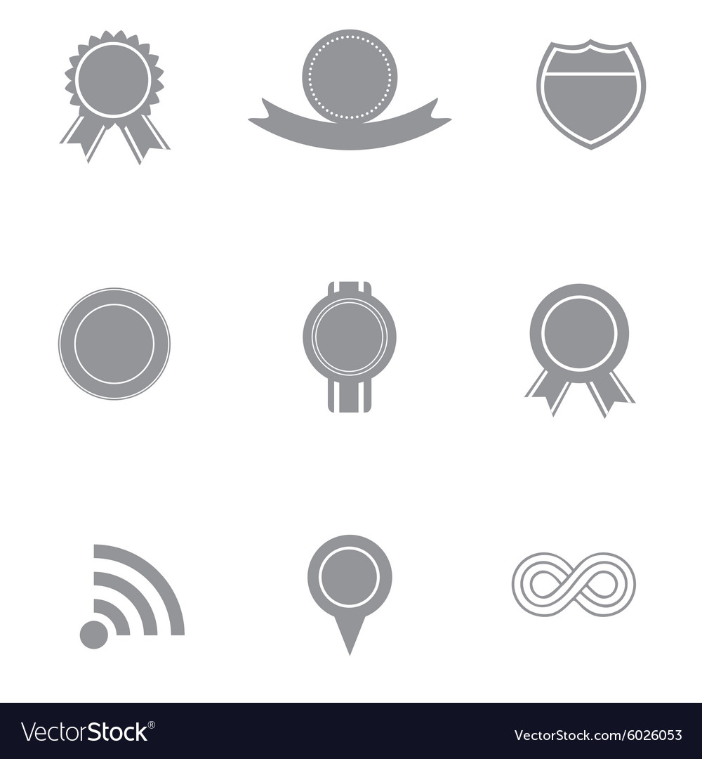 Set of grey and white badge and ribbon icons vector