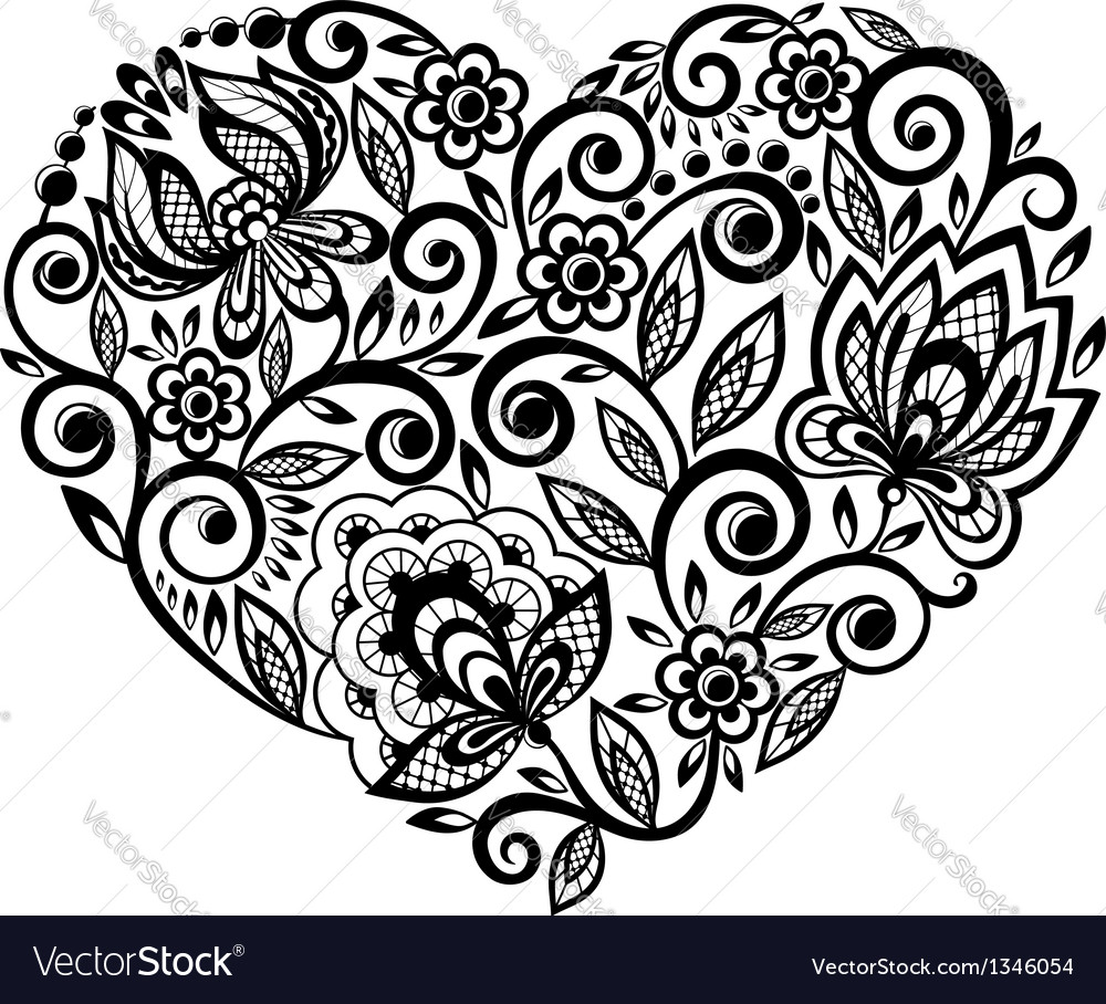 Beautiful silhouette of the heart of lace flowers vector