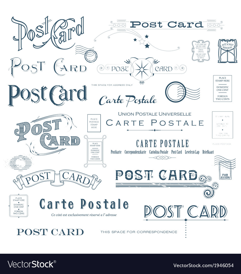 Postcard design elements vector